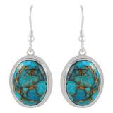 Sterling Silver Earrings Matrix Turquoise E1283-C84