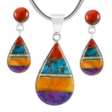 Sterling Silver Pendant & Earrings Set Multi Gemstone PE4023-LG-C01