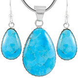 Sterling Silver Pendant & Earrings Set Turquoise PE4056-C75