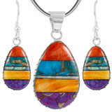 Sterling Silver Pendant & Earrings Set Multi Gemstone PE4056-C00