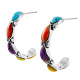 Multi-Gemstone Hoop Earrings Sterling Silver E1098-LG-C71
