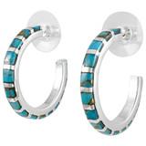 Sterling Silver Hoop Earrings Matrix Turquoise E1122-C84