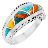 Spiny Turquoise Ring Sterling Silver R2285-C89