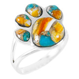 Paw Ring Sterling Silver Spiny Turquoise R2405-C89