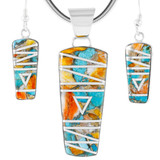 Spiny Turquoise Pendant & Earrings Set Sterling Silver PE4030-C89