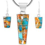 Spiny Turquoise Pendant & Earrings Set Sterling Silver PE4012-C89