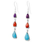 Sterling Silver Earrings Multicolors E1320-C71