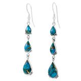 Sterling Silver Earrings Matrix Turquoise E1320-C84