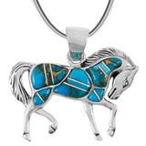 Matrix Turquoise Horse Pendant Sterling Silver P3125-C84