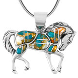Spiny Turquoise Horse Pendant Sterling Silver P3125-C89