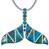 Matrix Turquoise Whale Tail Pendant Sterling Silver P3157-C84