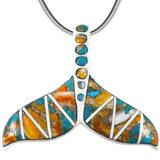 Spiny Turquoise Whale Tail Pendant Sterling Silver P3157-C89