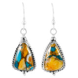 Sterling Silver Drop Earrings Spiny Turquoise E1065-LG-C89
