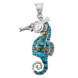 Sterling Silver Sea Horse Pendant Matrix Turquoise P3149-LG-C84