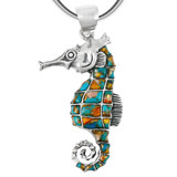 Sterling Silver Sea Horse Pendant Spiny Turquoise P3149-LG-C89