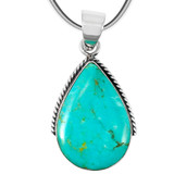 Greenish-Blue Turquoise Pendant Sterling Silver P3075-BAIL-C88