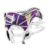 Horse Ring Sterling Silver Purple Turquoise R2018-C23