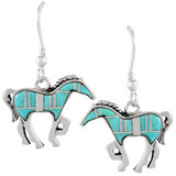 Sterling Silver Horse Earrings Turquoise E1054-C05