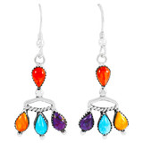 Multi Gemstones Earrings Sterling Silver E1337-C71