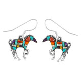 Sterling Silver Horse Earrings Multi Gemstones E1054-C51
