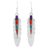 Feather Earrings Multi Gemstones Sterling Silver E1339-C00