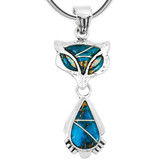 Sterling Silver Fox Pendant Matrix Turquoise P3150-C84