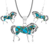 Sterling Silver Horse Pendant & Earrings Set Spiny Matrix Turquoise PE4016-C84
