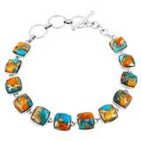 Spiny Turquoise Link Bracelet Sterling Silver B5561-C89