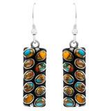 Spiny Turquoise Earrings Sterling Silver Earrings E6004-C89