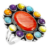 Multi Gemstone Ring Sterling Silver R2457-C71