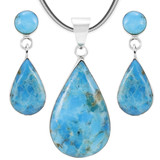Turquoise Sterling Silver Pendant & Earrings Set PE4023-LG-C75