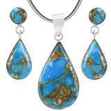 Matrix Turquoise Sterling Silver Pendant & Earrings Set PE4023-LG-C84