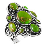 Green Turquoise Ring Sterling Silver R2416-C76