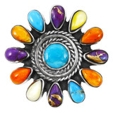 Multi Gemstone Ring Sterling Silver R2470-C71