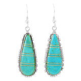 Turquoise Drop Earrings Sterling Silver E1300-C88