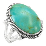 Greenish Blue Turquoise Jewelry Ring Sterling Silver R2381-C88