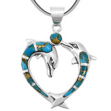 Matrix Turquoise Dolphin Pendant Sterling Silver P3169-C84