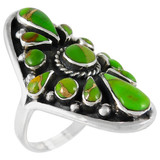 Green Turquoise Ring Sterling Silver R2034-C76