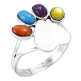 Paw Heart Ring Sterling Silver Multi Gemstone R2473-C71