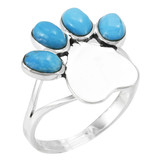 Paw Heart Ring Sterling Silver Turquoise R2473-C75
