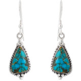 Sterling Silver Earrings Matrix Turquoise E1065-SM-C84