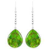 Green Turquoise Long Dangle Earrings E1349-C76