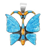 Turquoise Butterfly Pendant Sterling Silver P3283-LG-C75