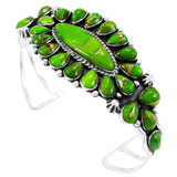 Green Turquoise Bracelet Sterling Silver B5494-C76