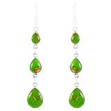 Sterling Silver Chandelier Earrings Green Turquoise E1241-C76