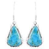 Turquoise Drop Earrings Sterling Silver E1350-C75