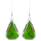 Green Turquoise Drop Earrings Sterling Silver E1350-C76