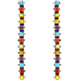 Multi Gemstone Drop Earrings Sterling Silver E1351-C71
