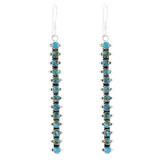 Sterling Silver Drop Earrings Matrix Turquoise E1351-C84