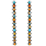 Sterling Silver Drop Earrings Spiny Turquoise E1351-C89